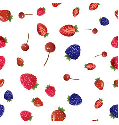 mix berries seamless pattern vector image