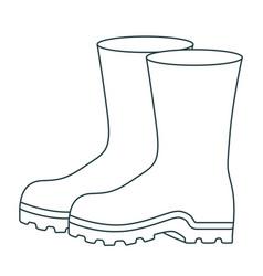 monochrome contour of fishing plastic boots vector image