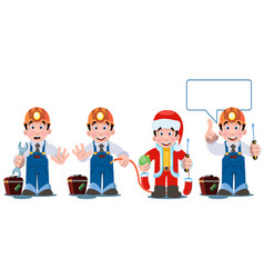 professional electrician with electricity tools vector image vector image