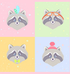 Raccoons set vector