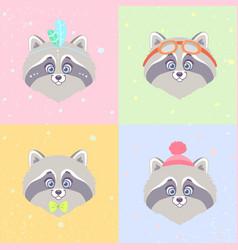 raccoons set vector image
