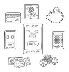 Online shopping objects and icons vector image vector image