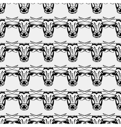 Pattern hipster bull head Monochrome black and vector image