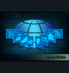 blue background with globe and social media vector image vector image