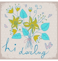 Cute greeting card with bunch of flower and ribbon vector image vector image