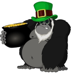 Monkey with a pot of gold vector image vector image