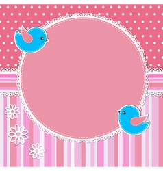 Pink frame with birds and flowers vector