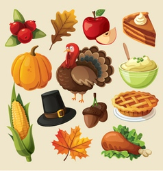 Set of colorful cartoon icons for thanksgiving day vector image vector image
