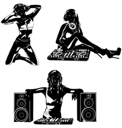 Young sexy woman dj silhouettes vector image