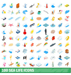 100 sea life icons set isometric 3d style vector