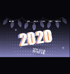 2020 new year typographic background website vector