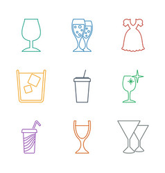 9 cocktail icons vector image