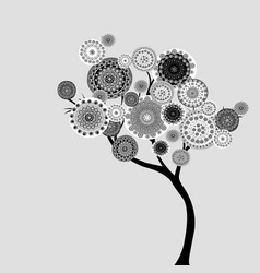 Abstract tree with doodle flowers vector