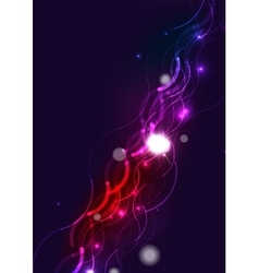 Abstract wave color glowing lines in dark space vector image