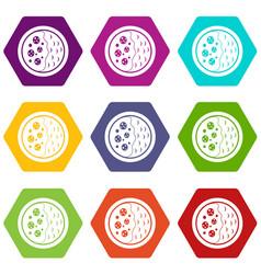 Asian soup icon set color hexahedron vector