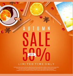 Autumn sale orange background vector