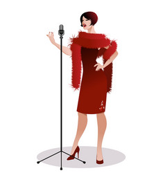 beautiful woman wearing retro style red dress vector image