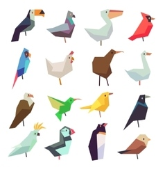 Birds in flat style collection vector image