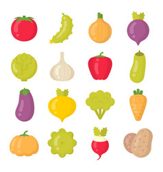 bright vegetables isolated colorful icons vector image