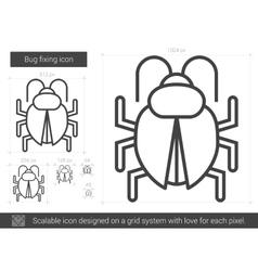 Bug fixing line icon vector