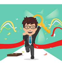 businessman crosses a finish line red ribbon vector image