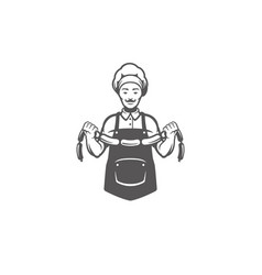 chef man holding meat sausages silhouette vector image