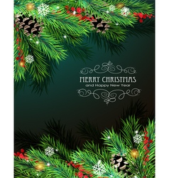 Christmas branches and cones vector