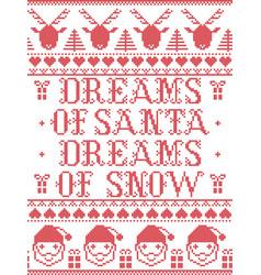 Christmas pattern dream so santa dreams of snow vector