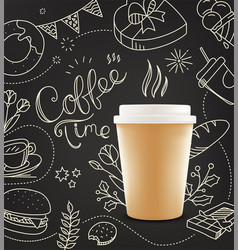 coffee cup with doodling elements cafe menu vector image