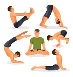 Collection of yoga poses with lotos in centre on vector