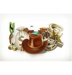 Cowboy Adventure Game logo Western retro style 3d vector image