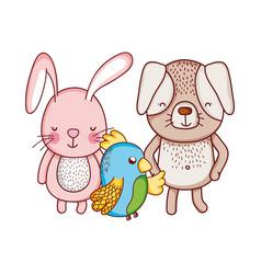 Cute animals rabbit dog and parrot cartoon vector