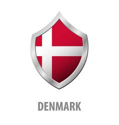 Denmark flag on metal shiny shield vector