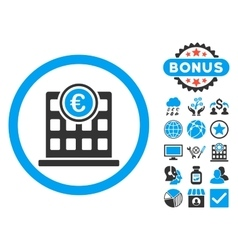 Euro Company Building Flat Icon with Bonus vector image