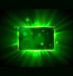 frame green sign board shiny bar show banner vector image