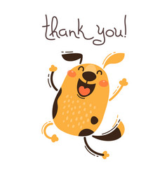 Funny dog says thank you vector