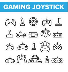 Gaming joystick thin line icons set vector