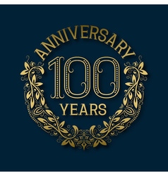 Golden emblem of hundredth years anniversary vector image