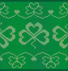 green knitted clovers seamless pattern vector image