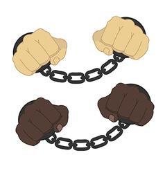 Hands in steel handcuffs vector