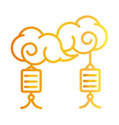 happy mid autumn festival clouds lanterns vector image
