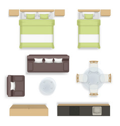 interior top view living bedroom bathroom house vector image