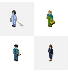 Isometric people set of housemaid plumber vector