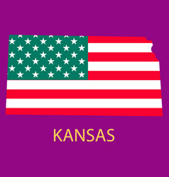 Kansas state of america with map flag print vector