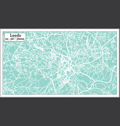 Leeds england city map in retro style outline map vector