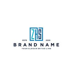 Letter zhs square logo design vector