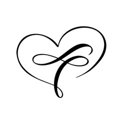 Love heart with sign infinity sign on greeting vector