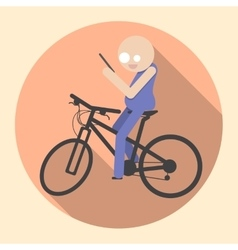 Man with Smartphone riding bicycle vector image