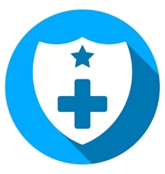 Medical Insurance Shield Flat Round Icon with Long vector image