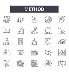 Method line icons signs set linear vector